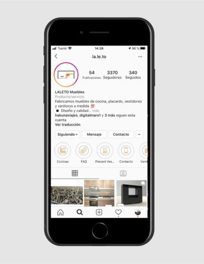 pantalla modelo de celular en instagram - Laleto Muebles