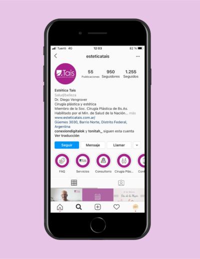 pantalla modelo de celular en instagram - estética Tais