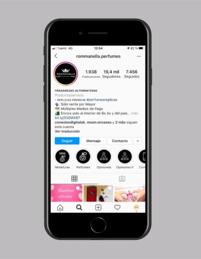 pantalla modelo de celular en instagram